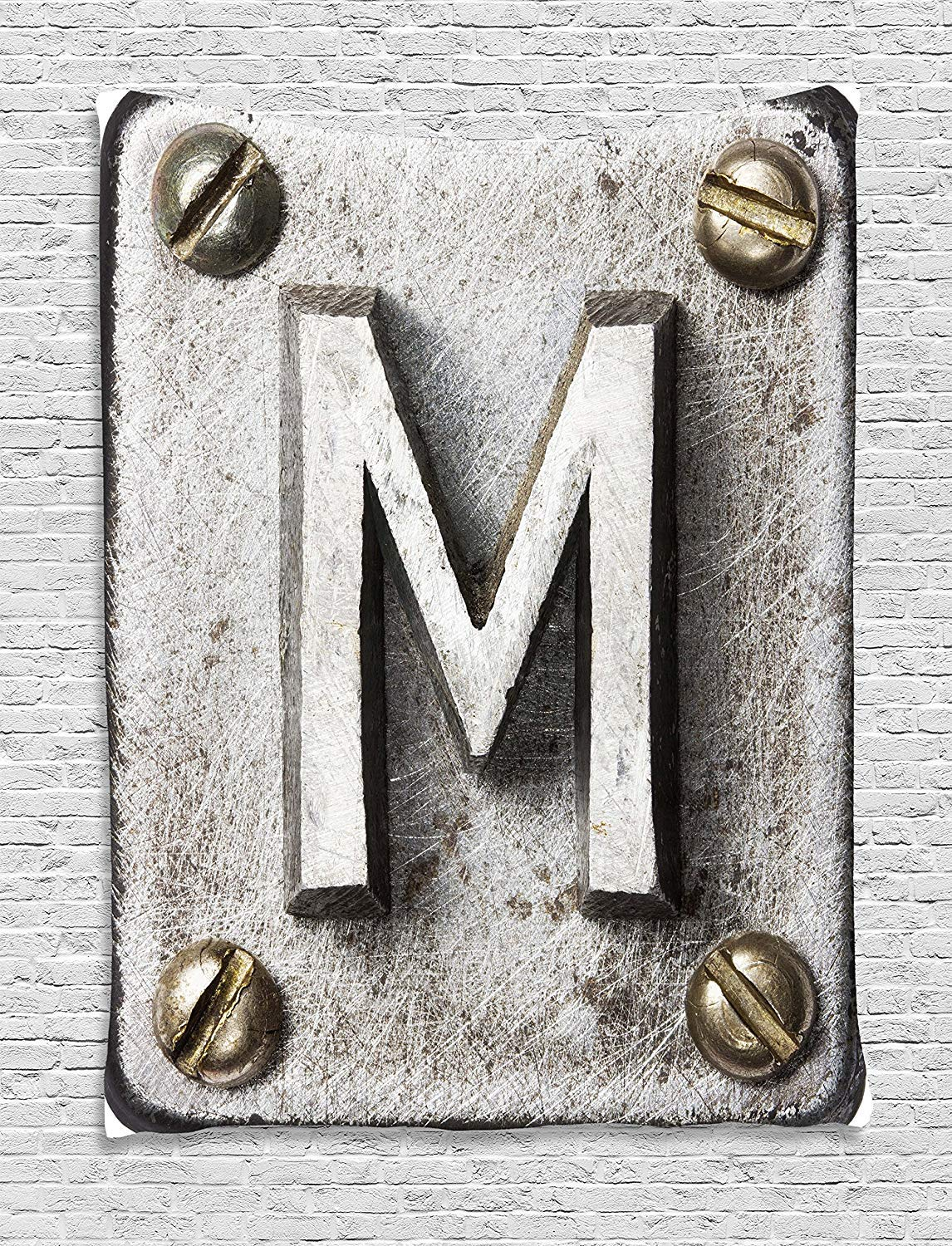 THndjsh Letter M Tapestry, Zinc Iron Steel Alphabet Typeset with Grunge Scratched Texture Industrial Image, Wall Hanging for Bedroom Living Room Dorm, 60 W X 80 L Inches, Silver Gold