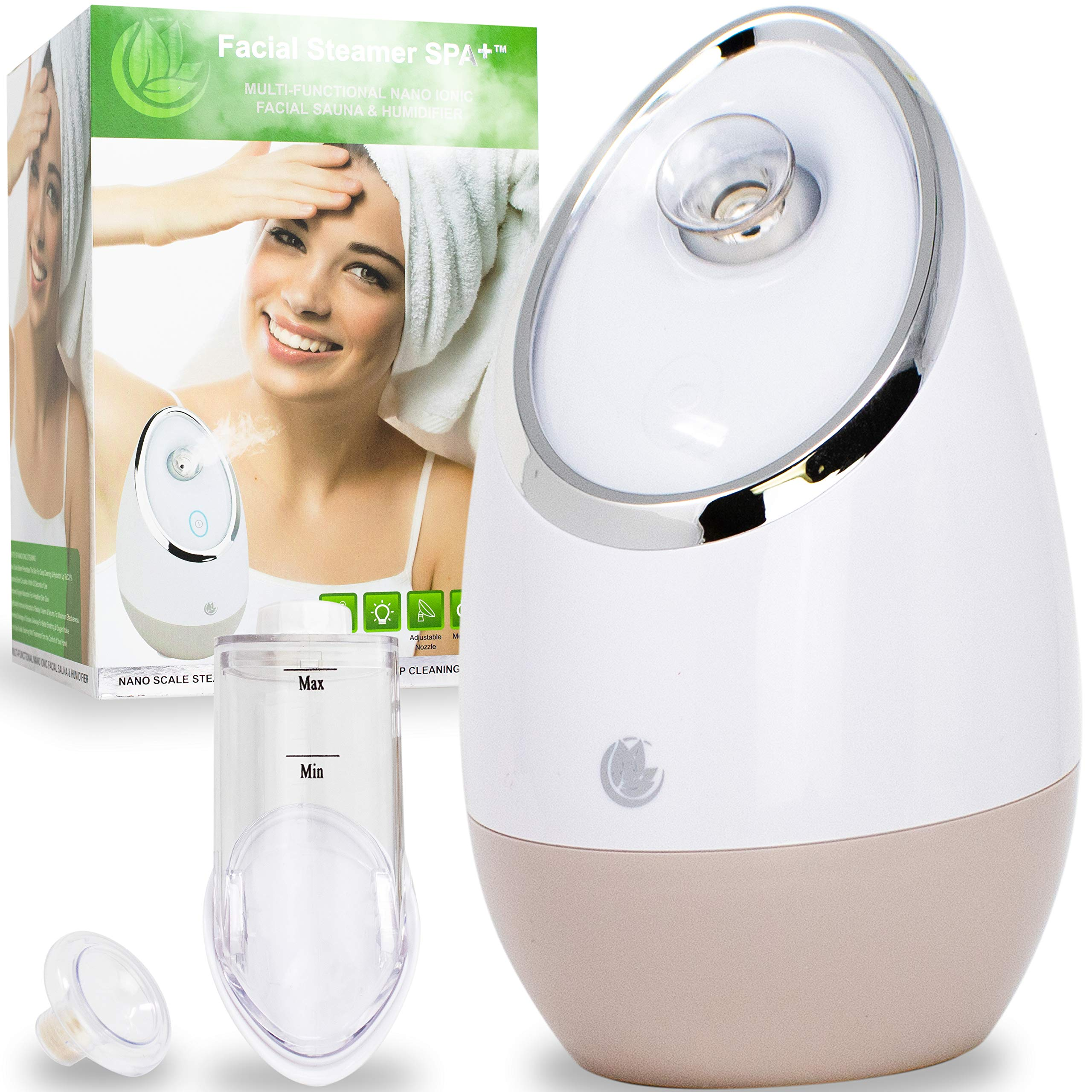 Facial Steamer SPA+ by Microderm GLO - Best Professional Nano Ionic Warm Mist, Home Face Sauna, Portable Humidifier Machine, Deep Clean & Tighten Skin, Daily Hydration for Maximum Serum Absorption