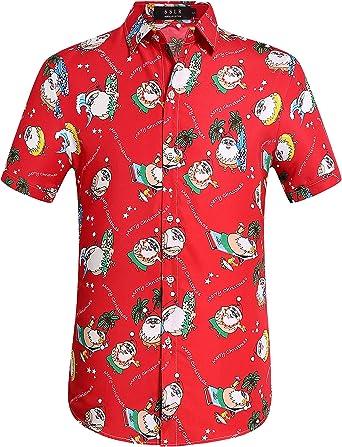 SSLR Camisa Estilo Hawaiana Tropical Estampado Navideño Papá Noel 3D Manga Corta para Hombre: Amazon.es: Ropa y accesorios