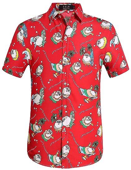 c3c45ed5 SSLR Men's Tropical Party Santa Claus Casual Hawaiian Ugly Christmas Shirt ( Small, Red(