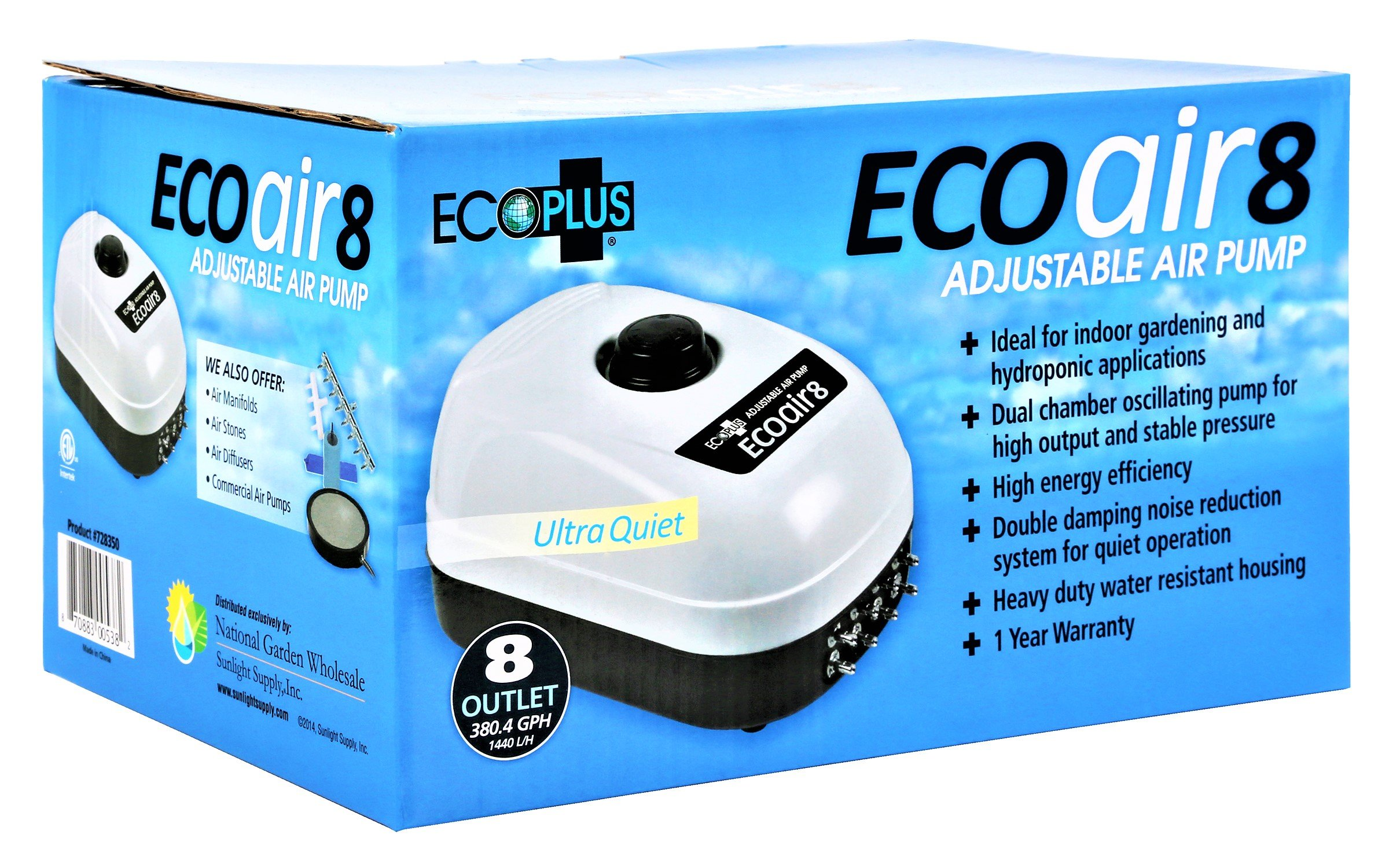 EcoPlus 380 GPH (1440 LPH, 13W) Air Pump w/ 8 Outlets | Aquarium, Fish Tank, Fountain, Pond, Hydroponics by EcoPlus