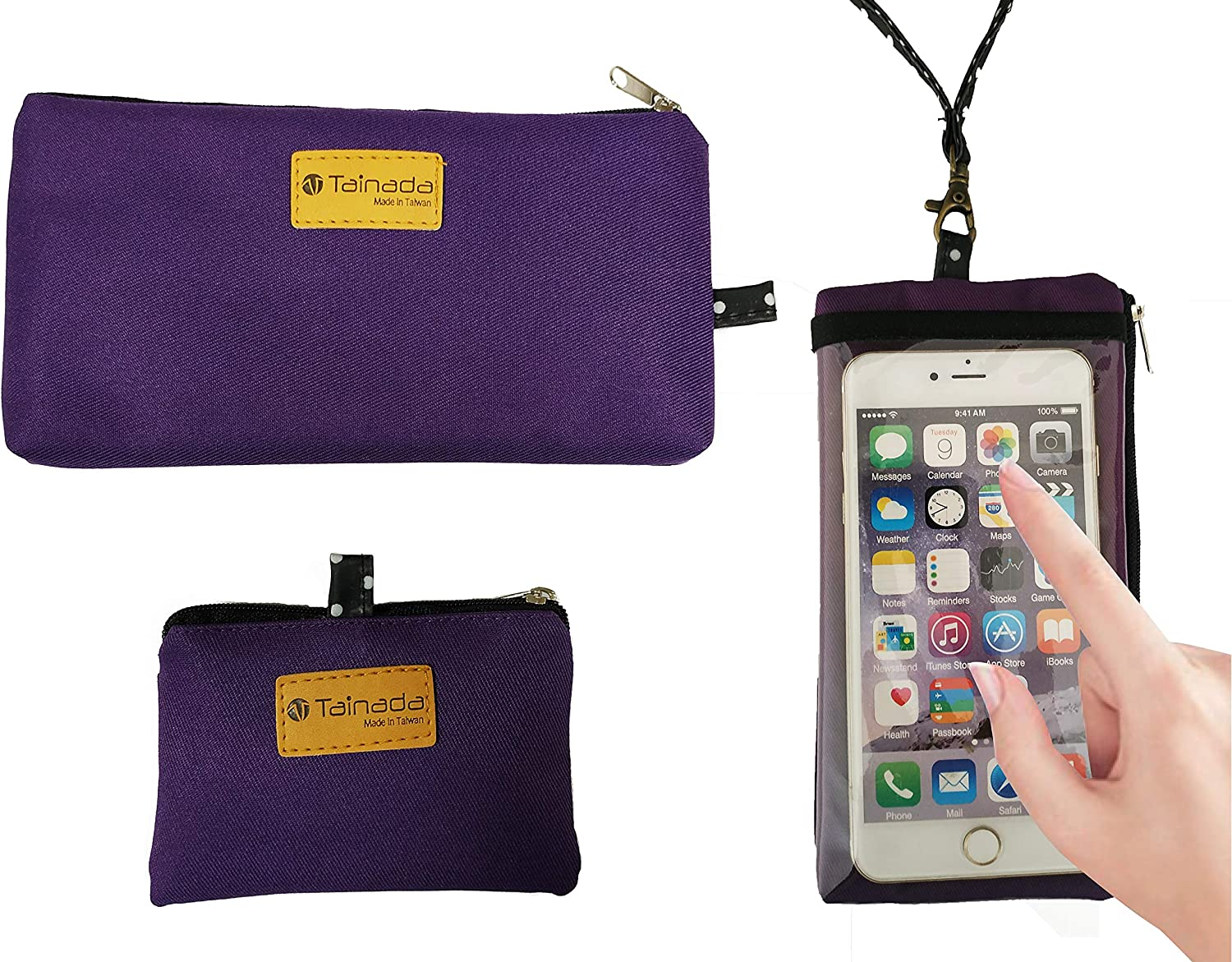 Tainada Smartphone Purse Pouch Bag with Clear View Window Touch Screen /& Neck Strap Lanyard Compatible with Most of Smartphones Bonus ID Window Card Holder Coin Purse Purple