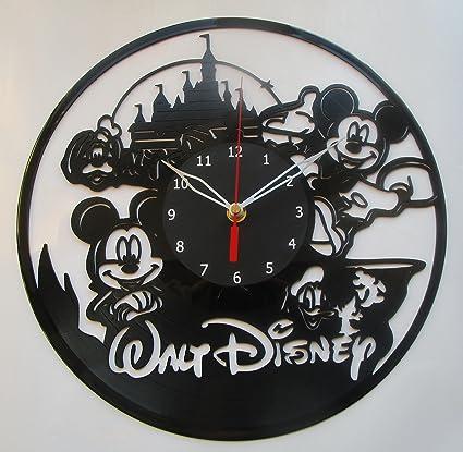 Walt Disney Mickey Mouse Vinyl Clock Record Wall Clock Handmade Fan Art Decor Unique Decorative Vinyl