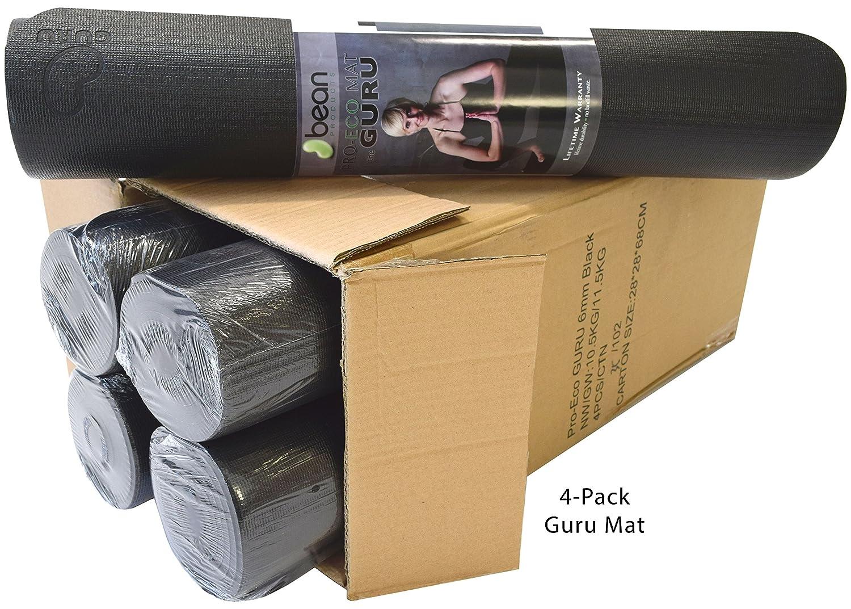 Bean製品ボックスの4 – Pro Eco KalpaブラックGuruヨガ、ピラティス、究極のマットジャンプ – Super Thick – Extra Wide – Extra Long – Non Toxic天然ゴムと樹脂ブレンド – Earth Friendly   B07D85B3VH