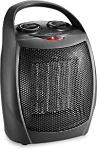 HOME_CHOICE Small Ceramic Space Heater Quiet Electric Portable Heater Fan for Home Dorm Office Desktop and kitchen with Adjustable Thermostat,ETL Listed for Safe Use (Black)