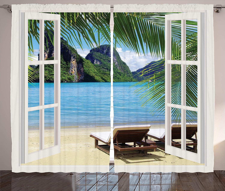 Amazoncom Ambesonne Nautical Home Decor Curtains Palm Tree Decor