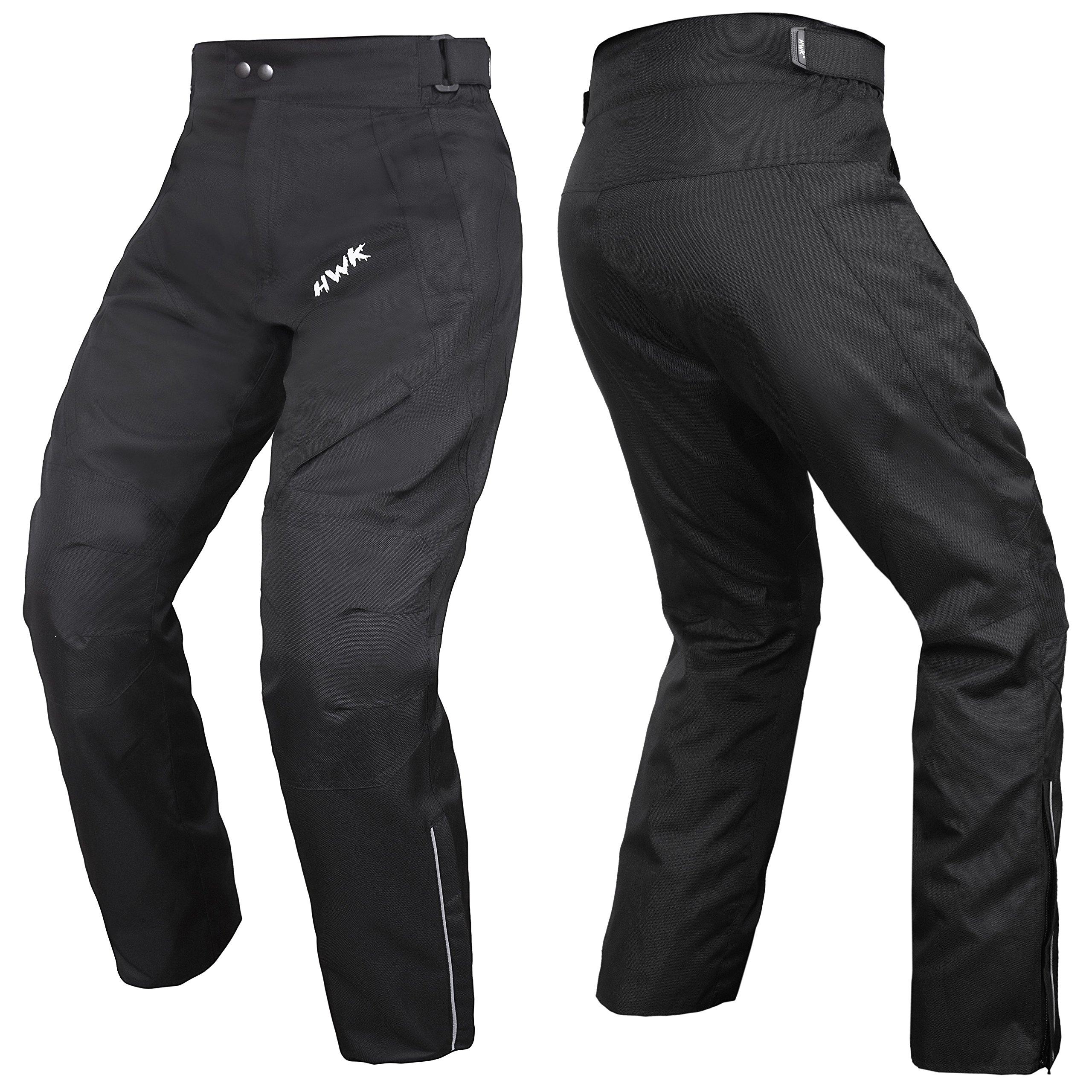 HWK Mens Black Textile Breathable Waterproof CE Armoured Motorbike Overpants Motorcycle Trousers/Pants - 1 year Guarantee Waist38''-40'' Inseam30'' by HHR