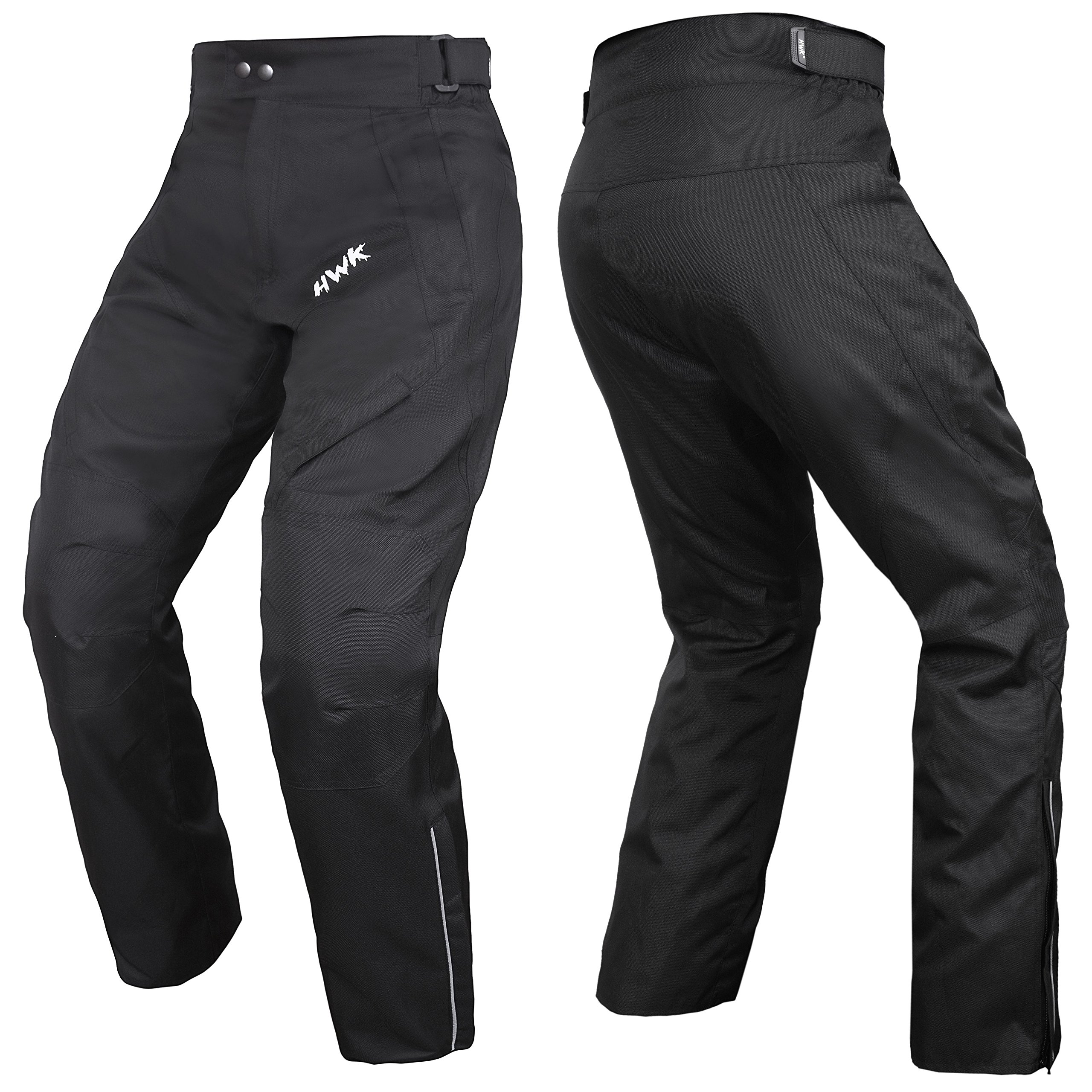 HWK Mens Black Textile Breathable Waterproof CE Armoured Motorbike Overpants Motorcycle Trousers/Pants - 1 year Guarantee Waist32''-34'' Inseam32''
