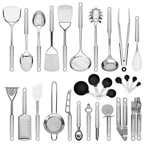 Best Choice Products 29-Piece Stainless Steel Kitchen Cookware Utensils Set  w/Spatulas, Can and Bottle Openers, Measuring Cups, Whisk, Ladles, Tongs,  ...
