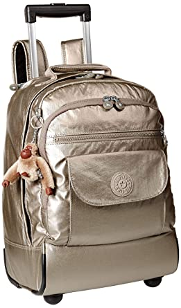Amazon.com: Kipling Sanaa Large Metallic Pewter Wheeled Backpack, MTTLCPWTER: Clothing