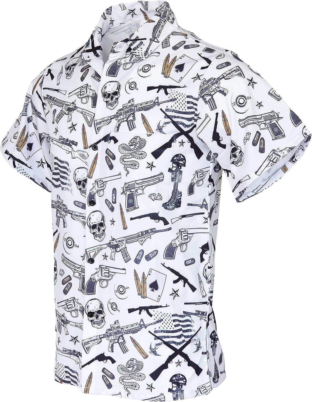 Funny Guy Mugs Men's Hawaiian Print Button Down Short Sleeve Shirts
