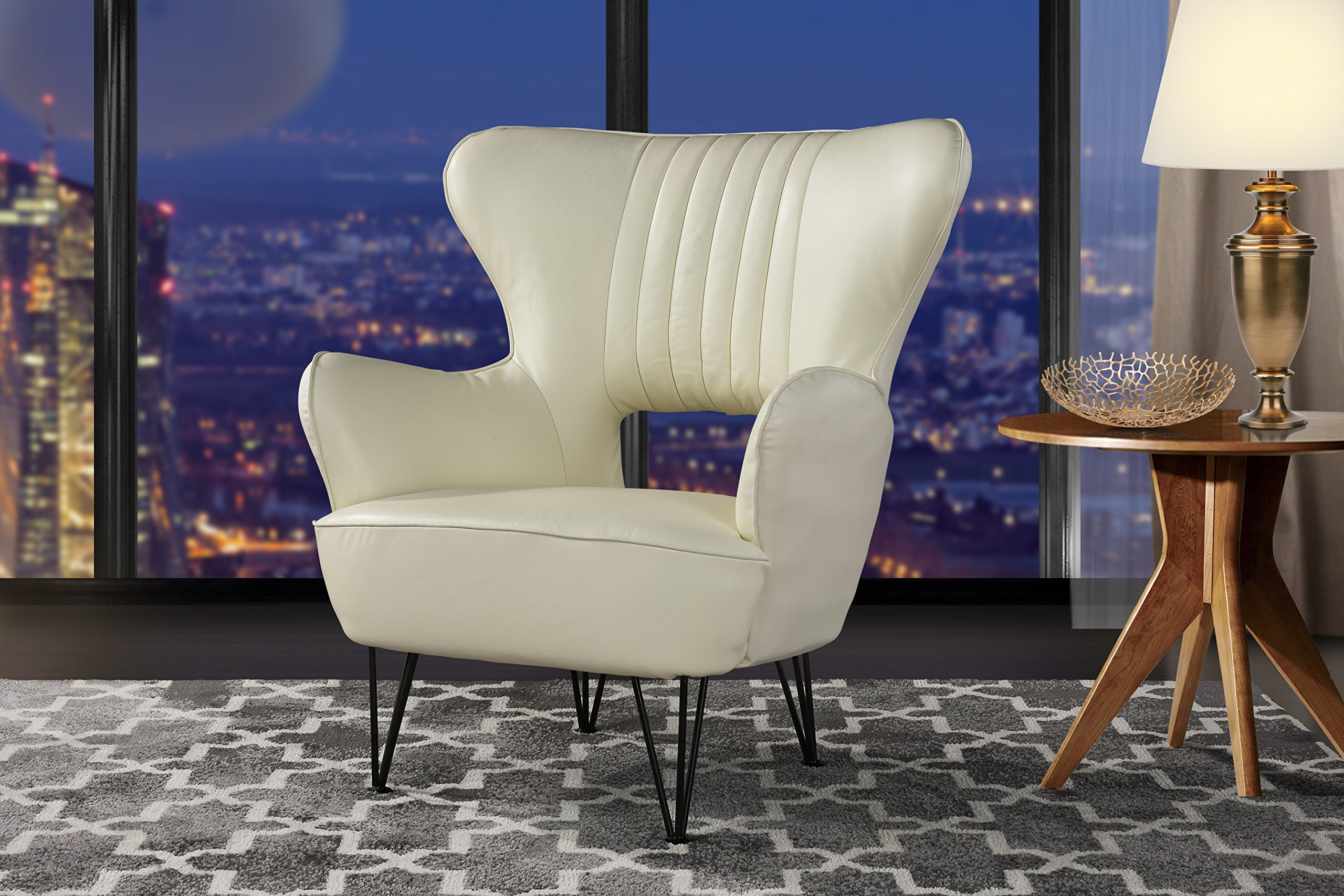 Modern Leather Accent Armchair with Shelter Style Living ...