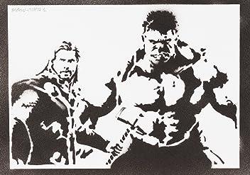 Póster Hulk Y Thor Los Vengadores Grafiti Hecho A Mano - Handmade Street Art - Artwork