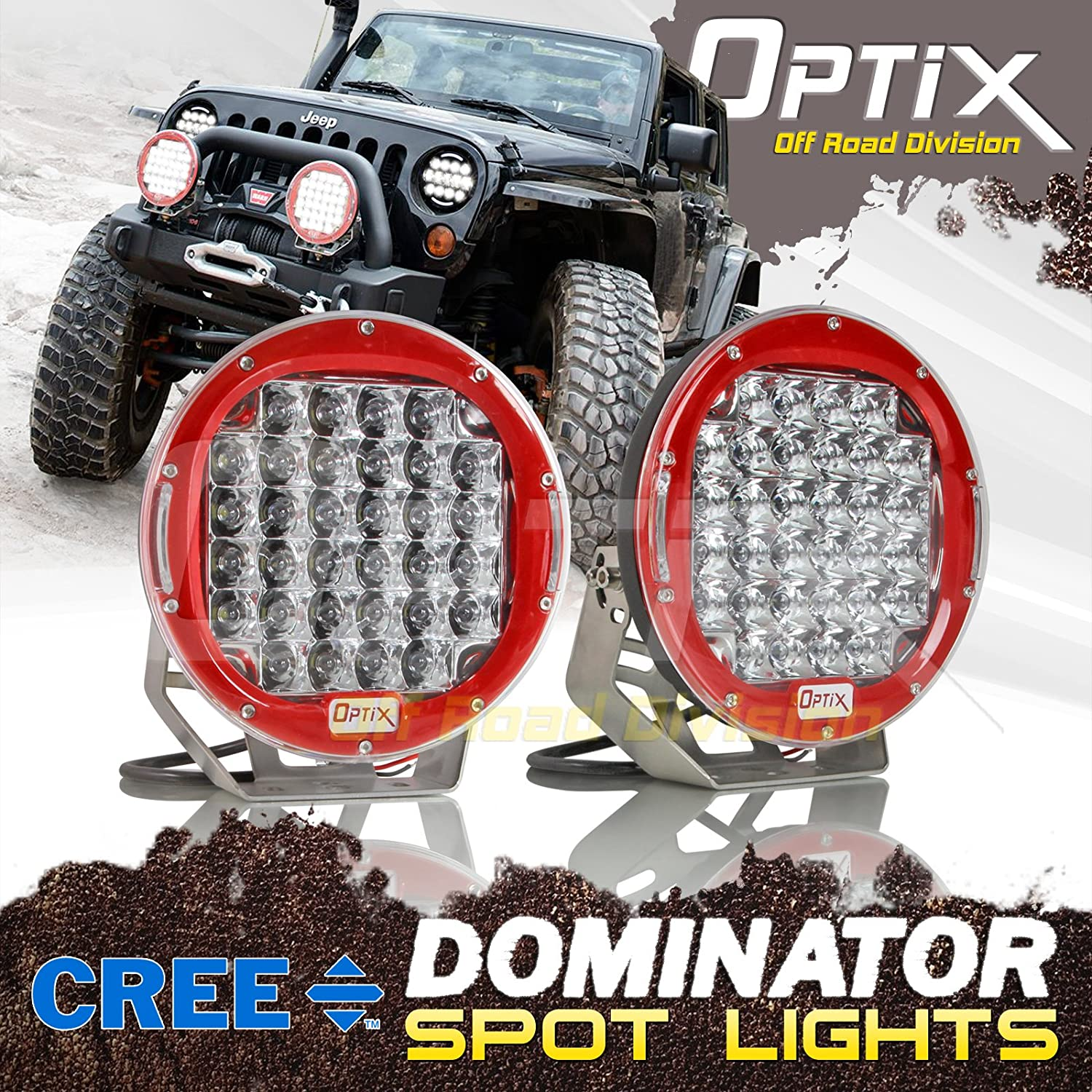 Optix 2pcs 192W 16400LM 9' Round CREE LED Work Light Driving Spot Light High Intensity Auxiliary Light Bar Off-Road Jeep Truck SUV ATV UTV Roof Bumper Boat Third Gear Performance