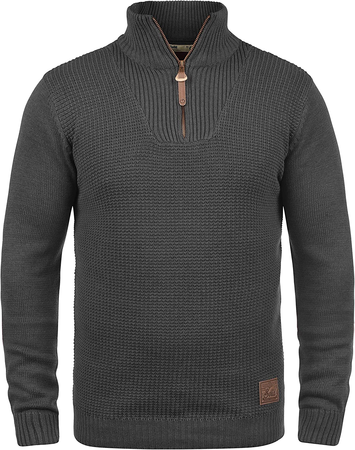 Solid Tommy Mens Jumper Knit Pullover with Half-Zip Funnel Neck