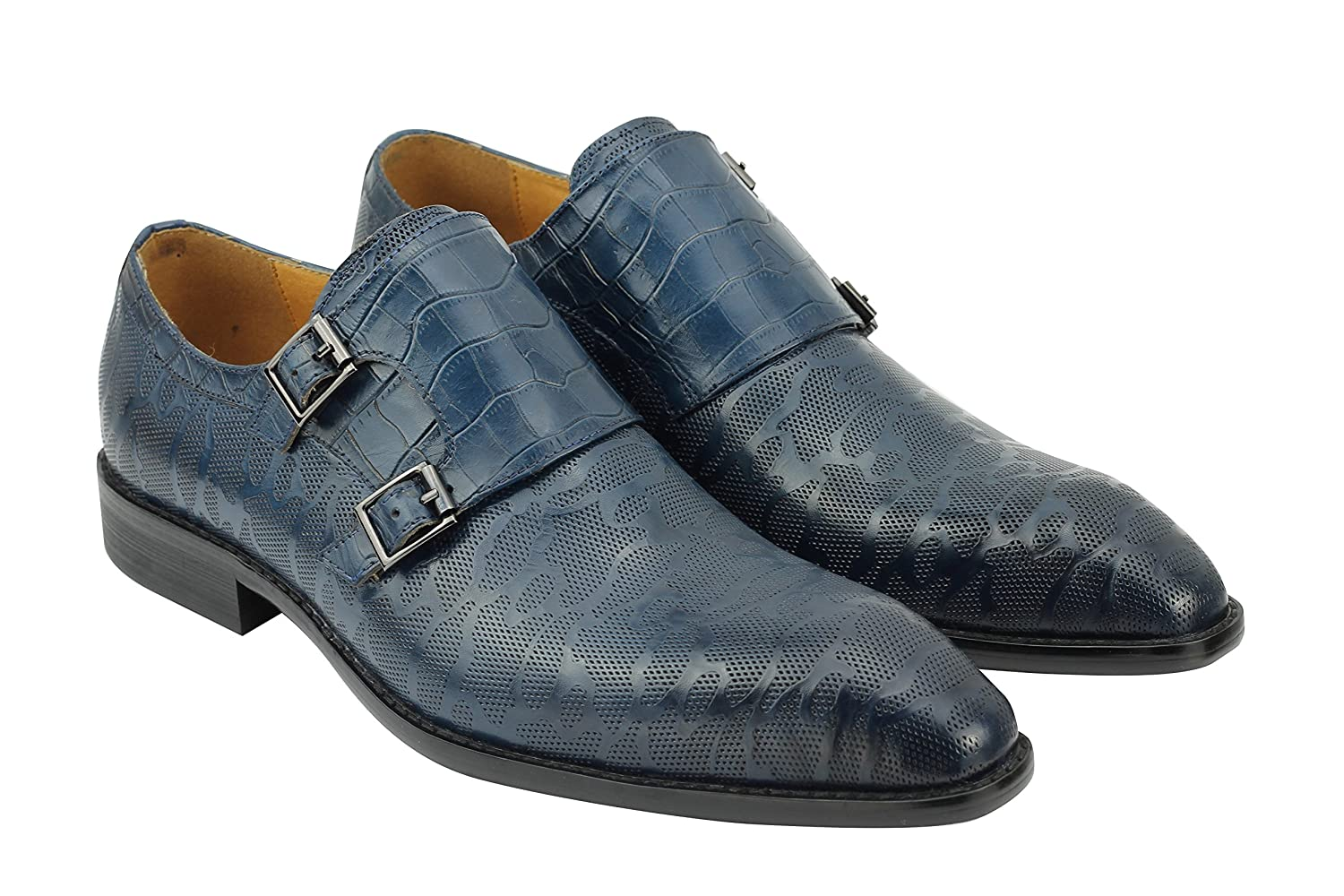 23afb71657277 Xposed New Mens Polished Patterned Real Leather Blue Monk Straps MOD Shoes  6 7 8 9 10 11 11.5: Amazon.co.uk: Shoes & Bags