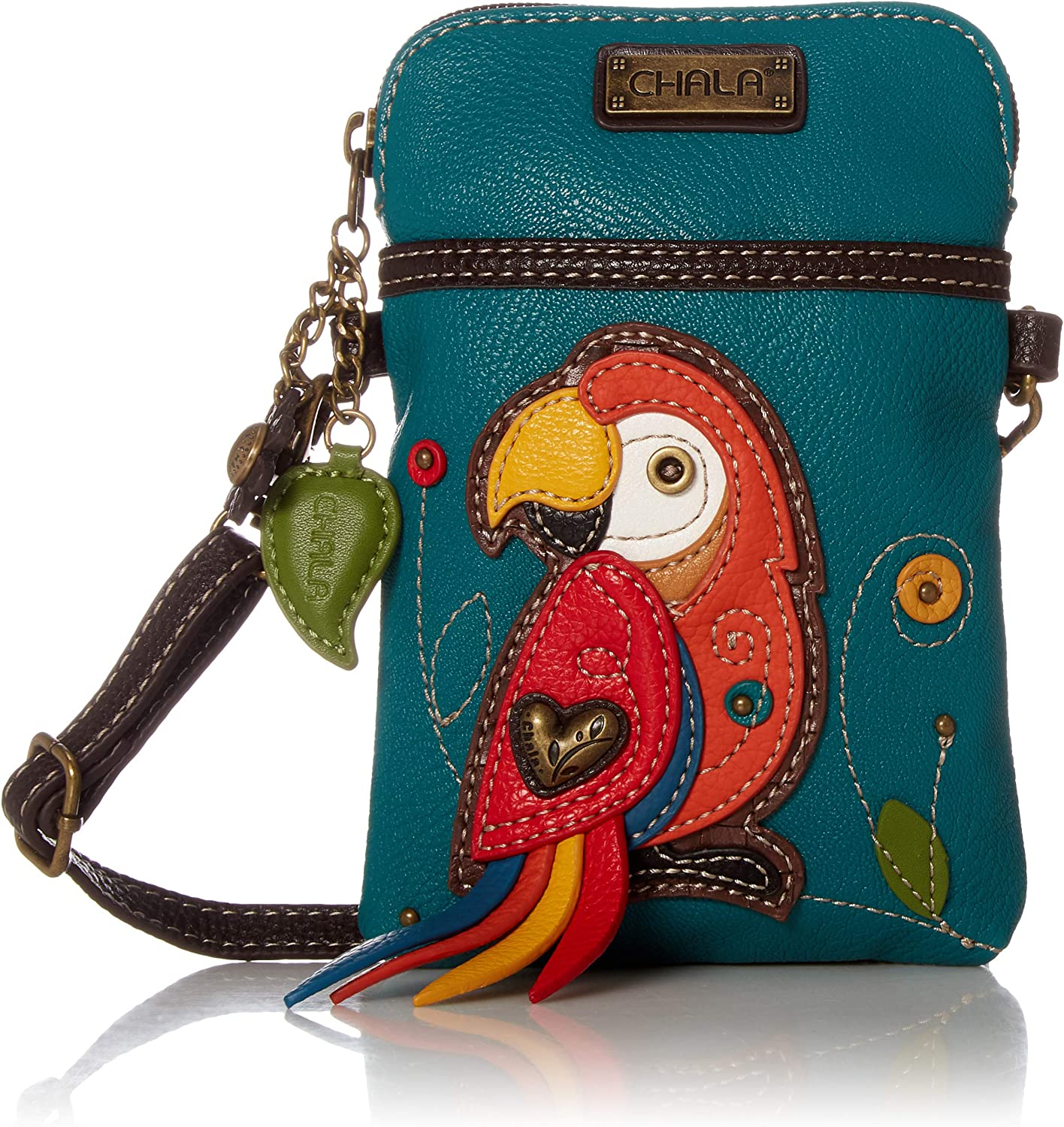 Chala Red Parrot Cellphone Crossbody Handbag - Convertible Strap Bird Lovers