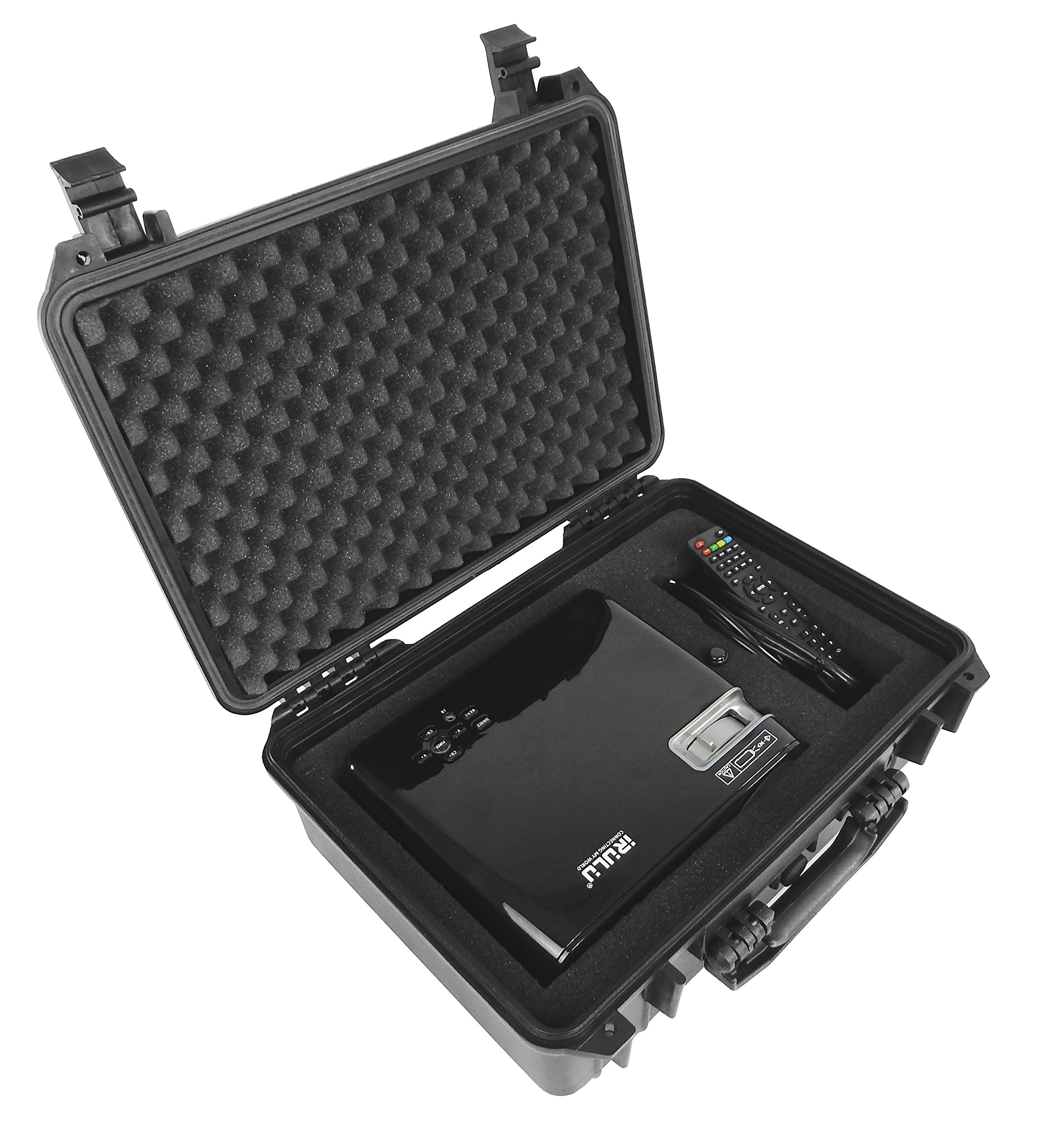 DROPSAFE Hard Carrying Case for iRulu P4, Tenker, ColoFocus Home Cinema Theater Video Projector w/ Dense Foam - Fits Projector, Cables, Remote, Screw Cap, and Accessories - Waterproof and Dustproof by CASEMATIX