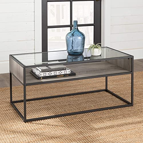 Walker Edison Furniture Company Industrial Modern Wood Rectangle Open Shelf Coffee Accent Table Living Room, Grey Wash