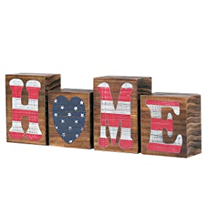 MyGift Patriotic Rustic Wooden Home Letter Blocks Tabletop American Flag Decorative Sign