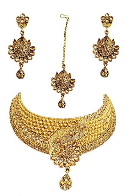 Buy Gold Plated Designer Antique Jewellery Set With Maangtika At