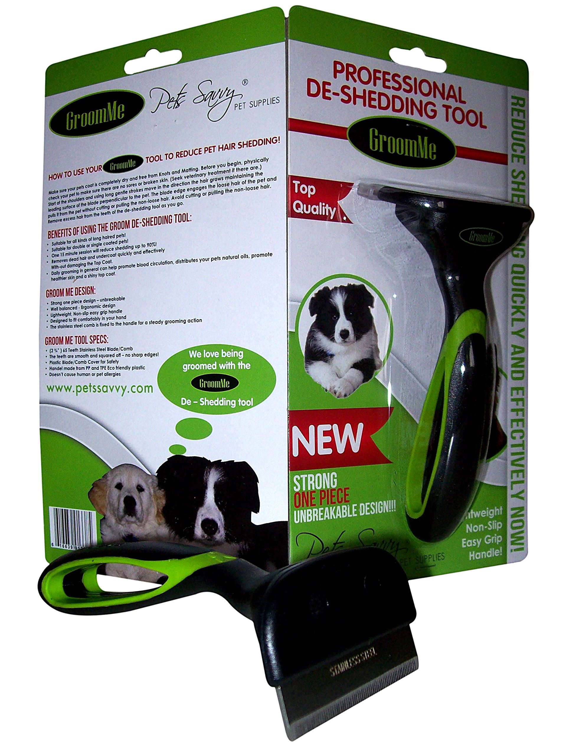 TOP QUALITY de Shedding Tool for Dog + Cat Grooming The Secret to Reducing Pet Shedding Quickly Up To 90% deshedder Tools for Dogs & Cats - Veterinary + Groomer approved for All Pets by GroomMe (Image #2)