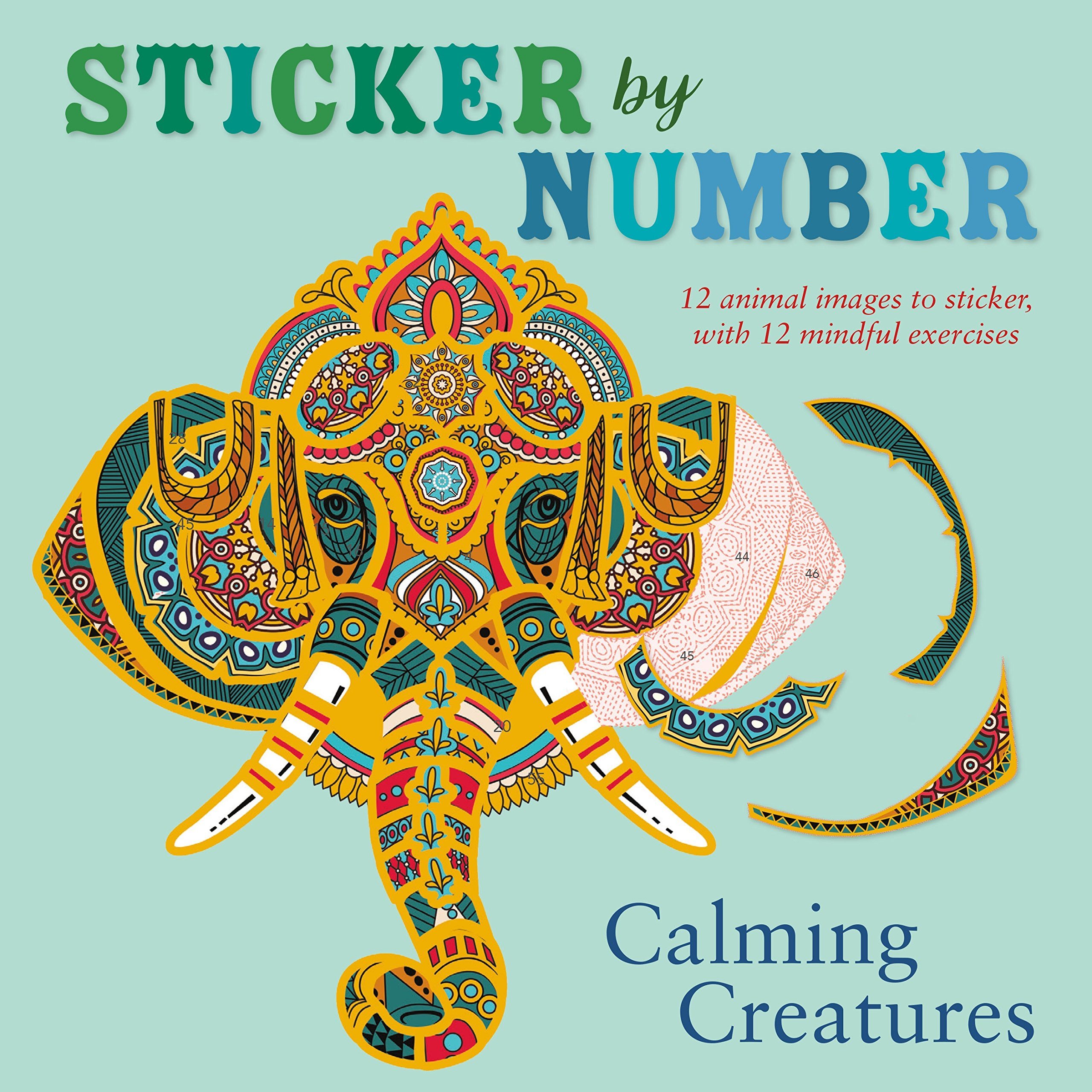 Amazon.com: Sticker by Number: Calming Creatures: 12 Animal Images ...