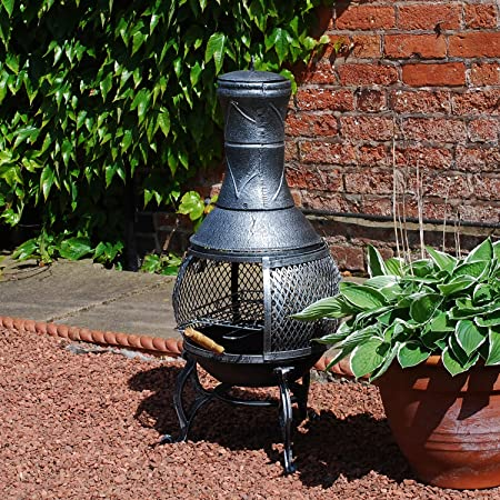 Cast Iron Patio Chiminea BBQ Heater With Mesh Guard Chimney Lid And Poker  ,Sliding Door