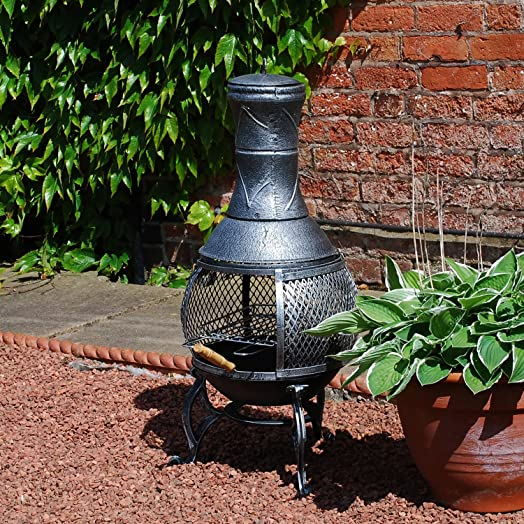 Delightful Cast Iron Patio Chiminea BBQ Heater With Mesh Guard Chimney Lid And Poker  ,Sliding Door