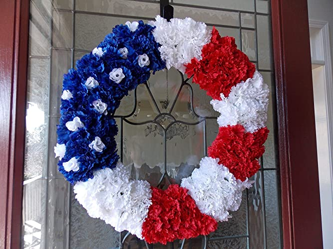 Amazon Com Handmade Patriotic Usa American Flag Floral Wreath For