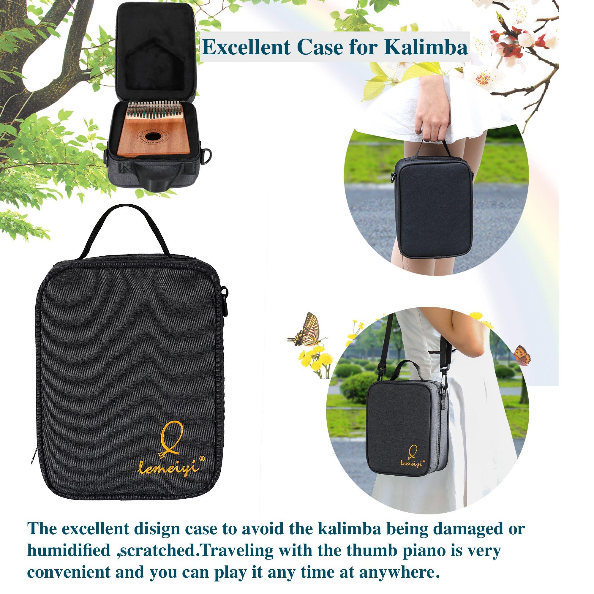 LEMEIYI Kalimba 17 Key with Mahogany,Portable Thumb Piano Mbira Sanza of Wooden Attached Ore Metal Tines with Kalimba Case by Lemeiyi (Image #5)