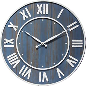 Infinity Instruments Wine Barrel 24 inch Wooden Oversized Large Numbers Living Room Farmhouse Rustic Decor Battery Operated Wall Clock, Blue