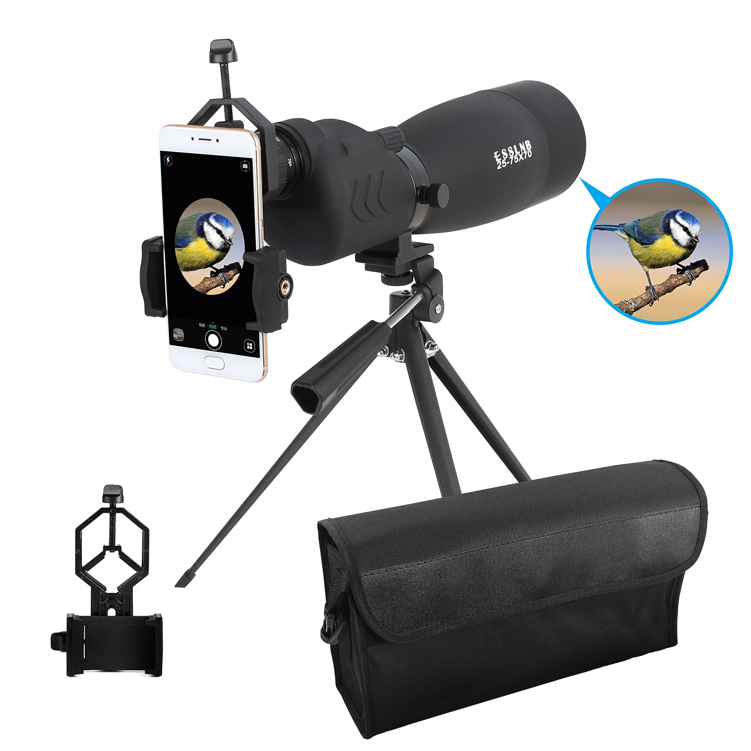ESSLNB Waterproof Bird Spotting Scope 25-75X70mm with Phone Adapter Tripod and Bag BAK4 Porro Prism Straight Target Scope for Target Shooting Bird Watching Hunting