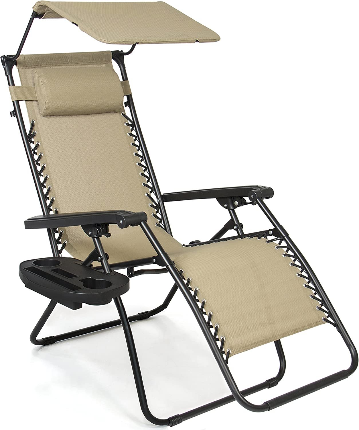 Best Choice Products Zero Gravity Chair with Canopy Sun Shade - Tan