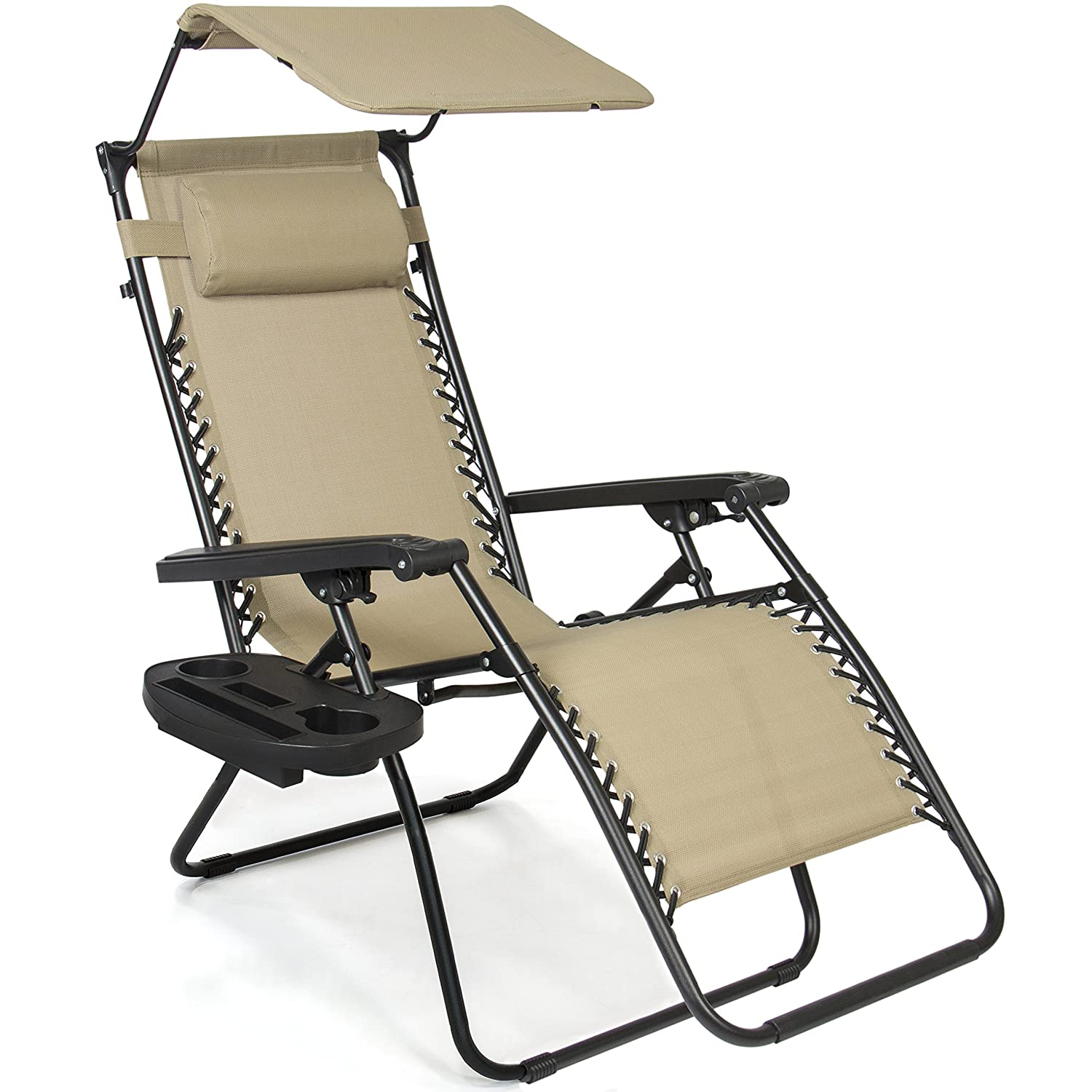 Best Choice Products Folding Zero Gravity Recliner Lounge Chair w Adjustable Canopy Shade, Cup Holder Accessory Tray, Headrest Pillow – Beige