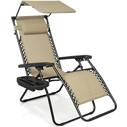 Superbe Best Choice Products Zero Gravity Canopy Sunshade Lounge Chair Cup Holder  Patio Outdoor Garden Tan