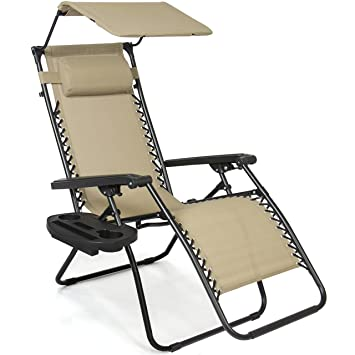 best choice products zero gravity canopy sunshade lounge chair cup holder patio outdoor garden tan - Lounge Chair Outdoor