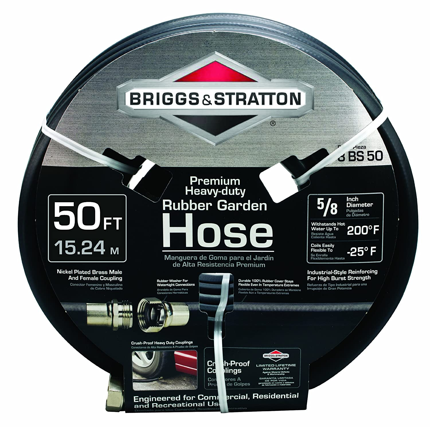 Briggs and Stratton 8BS50 50-Foot Premium Heavy-Duty Rubber Garden Hose