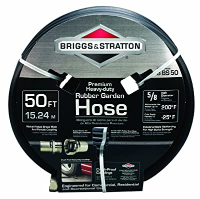 50 Feet Heavy-Duty Rubber Garden Hose by Briggs and Stratton