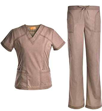 d3517b9c535 Jeanish V Neck Scrubs Set Superior Softness Washed Lady Women Scrubs  Medical Uniforms Top and Pants