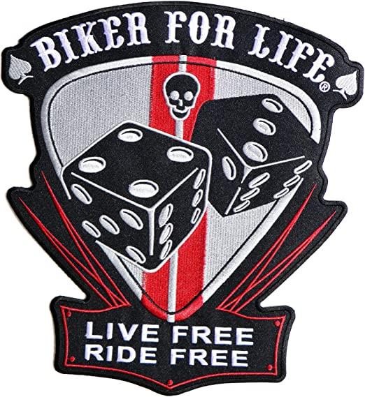 Live Free Ride Free Jumbo Embroidered Motorcycle Iron On Back Patch