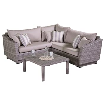 RST Brands 4 Piece Cannes Sectional And Conversation Table Patio Furniture  Set, Slate Gray