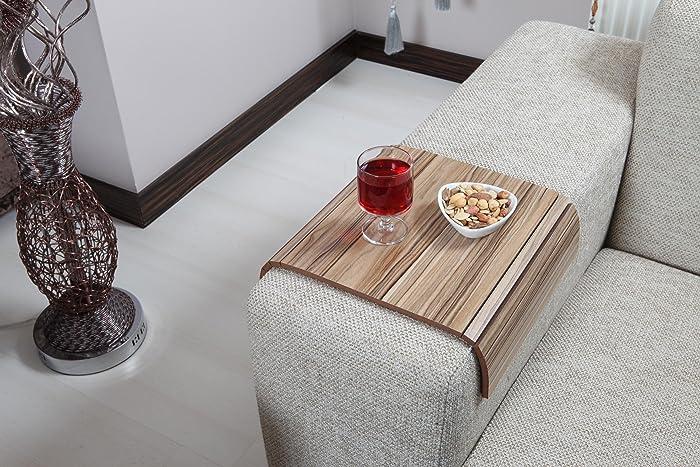 Sofa Tray Table ( European Walnut V2 ), Sofa Arm Table, Sofa Table,
