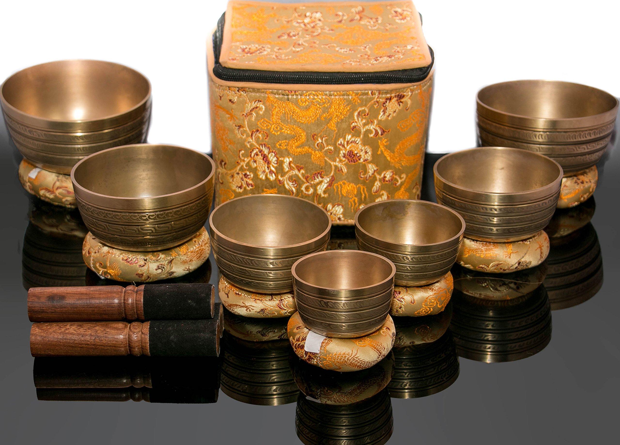Chakra Healing Tibetan Hammered Himalayan Singing Bowl Set of 7 Meditation Bowls Hand Bowls from Nepal