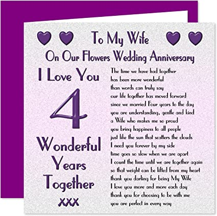 My Wife 4th Wedding Anniversary Card On Our Flowers Anniversary 4 Years Sentimental Verse I Love You Amazon Co Uk Office Products
