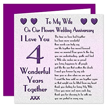 my wife 4th wedding anniversary card on our flowers anniversary