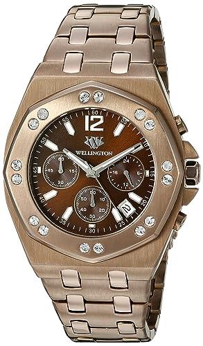 Wellington WN511-095 - Reloj analógico de cuarzo para hombre con correa de acero inoxidable, color marrón: Amazon.es: Relojes
