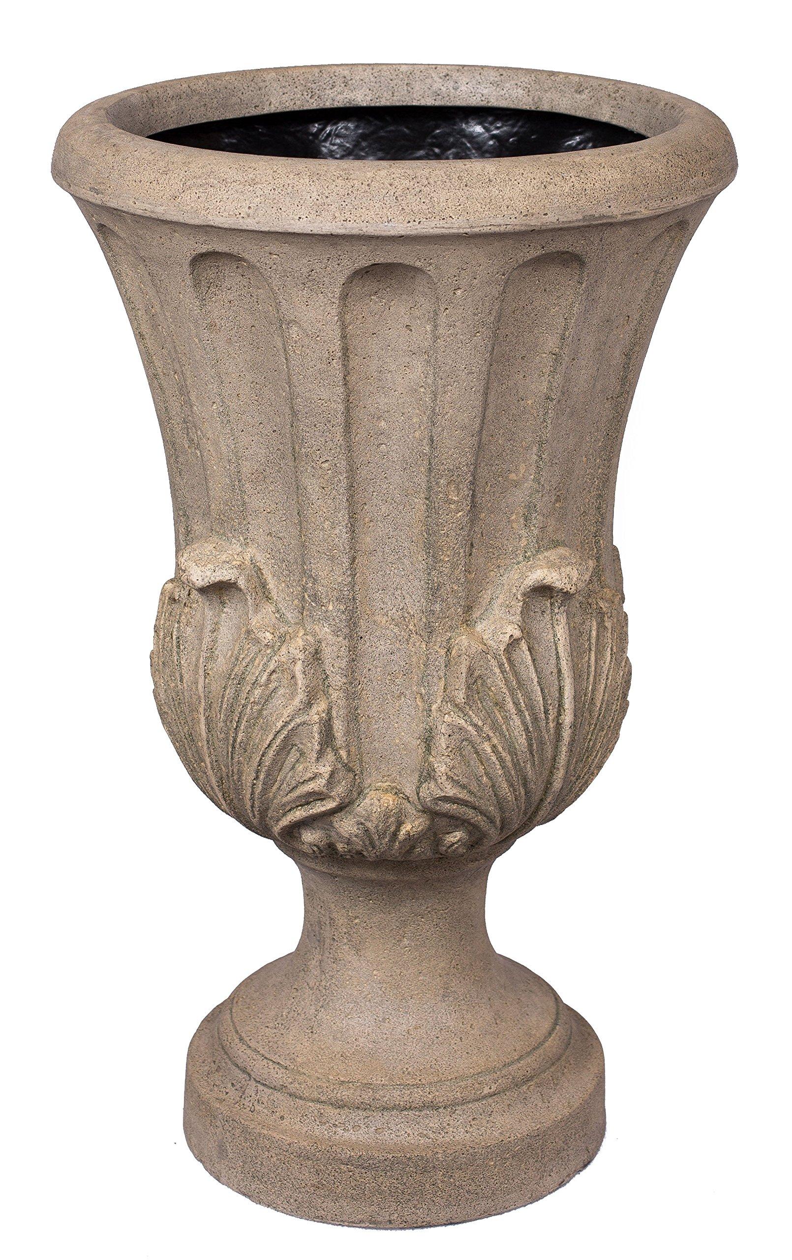 BirdRock Garden Roman Acanthus Urn - Aged Granite | Indoor Outdoor Planter Urn by BirdRock Home
