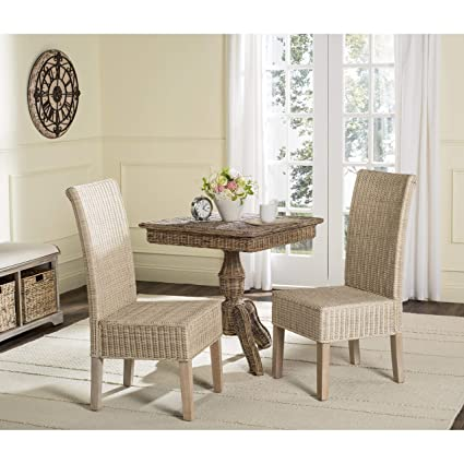 Amazoncom Safavieh Home Collection Arjun White Wash Wicker Dining