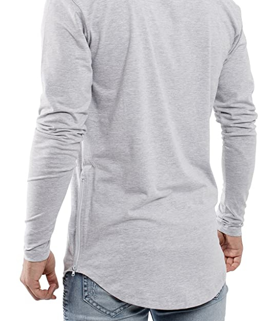 f787f8397511f7 Blackskies Oversize Longsleeve T-Shirt Herren Langarm Longshirt mit  Reißverschluss  Amazon.de  Bekleidung